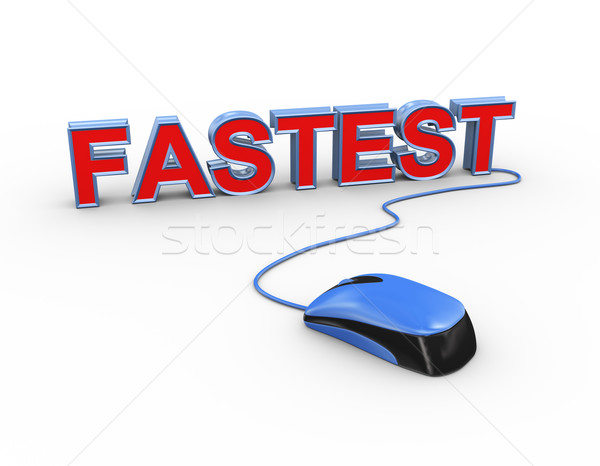 3d mouse attached to word text fastest Stock photo © nasirkhan