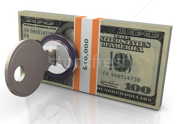 Сток-фото: 3D · деньги · защиту · 3d · визуализации · заблокированный · доллара