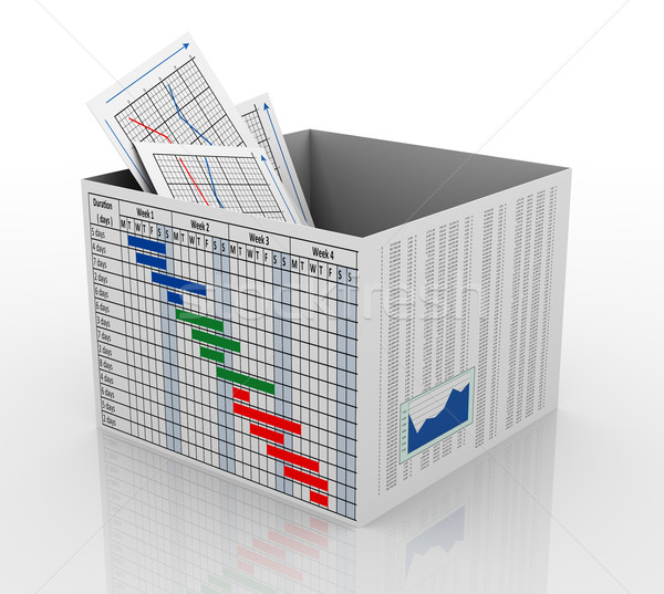 Stock photo: 3d business chart in the box