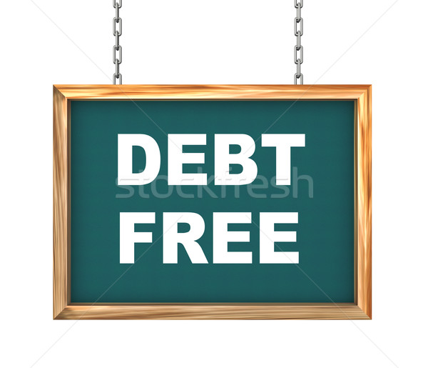 3d hanging banner - debt free Stock photo © nasirkhan