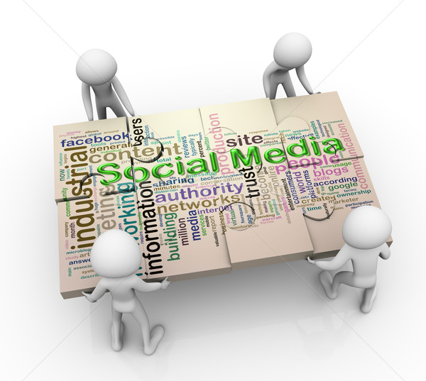 3d men and social media Puzzle peaces Stock photo © nasirkhan