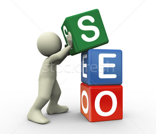 3d person and seo cube Stock photo © nasirkhan