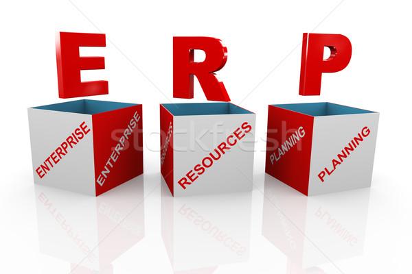 3d box of erp - enterprise resource planning Stock photo © nasirkhan