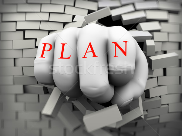 3d plan fist burst through brick wall Stock photo © nasirkhan