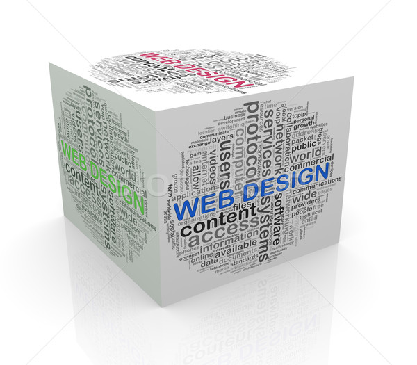 3D cube mot web design Photo stock © nasirkhan