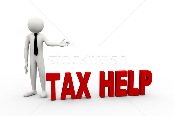 3d businessman with word tax help Stock photo © nasirkhan