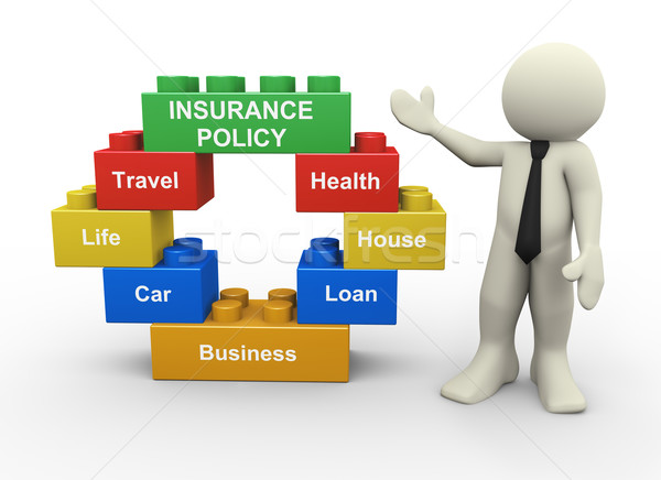 3d businessman and insurance policy toy blocks Stock photo © nasirkhan