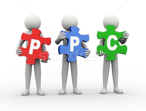3d ember puzzle darab ppc 3D renderelt kép Stock fotó © nasirkhan