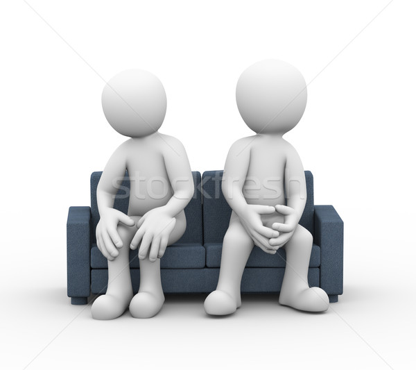 3d family conflict couple sitting on couch Stock photo © nasirkhan