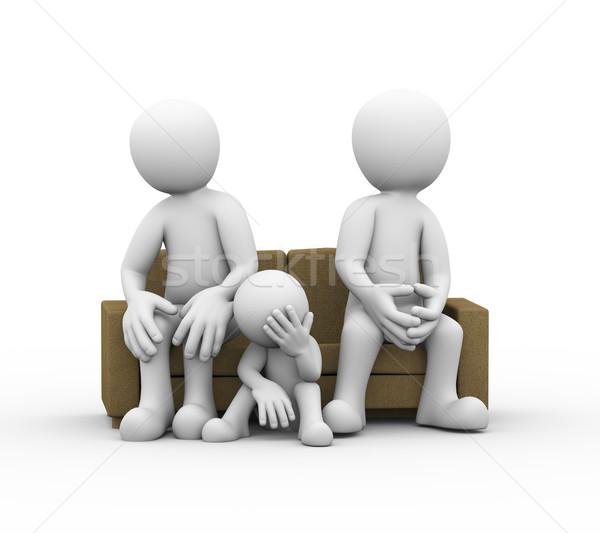 3D famiglia conflitto Coppia seduta divano Foto d'archivio © nasirkhan