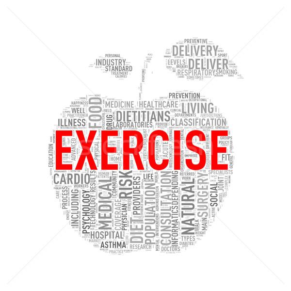 Healthcare apple shape wordcloud exercise Stock photo © nasirkhan