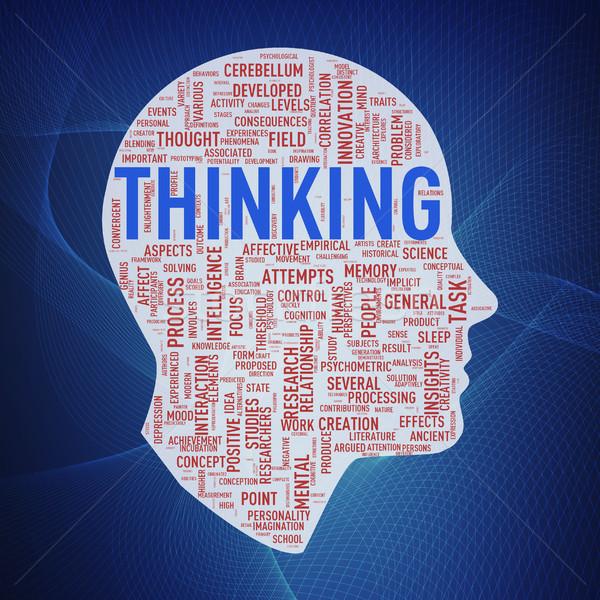 Human head wordcloud tags thinking Stock photo © nasirkhan