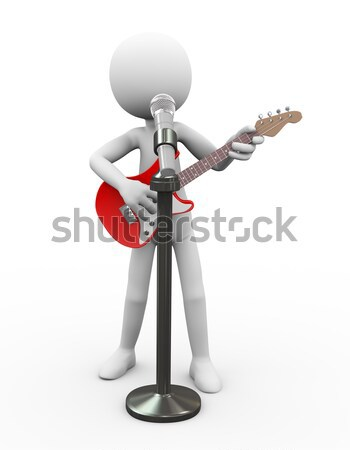 3d guitarist on stool singing song on mic Stock photo © nasirkhan