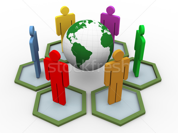 3d people global communication Stock photo © nasirkhan