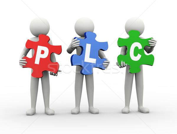 3d man puzzle piece - plc Stock photo © nasirkhan