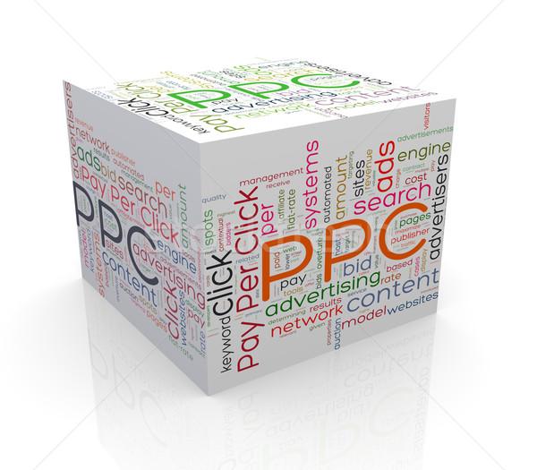 Stock fotó: 3D · kocka · szó · címkék · szófelhő · ppc