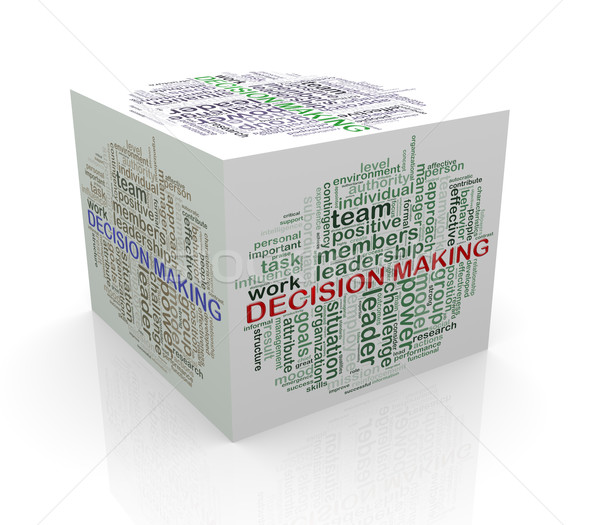 3d cube word tags wordcloud of decision making Stock photo © nasirkhan