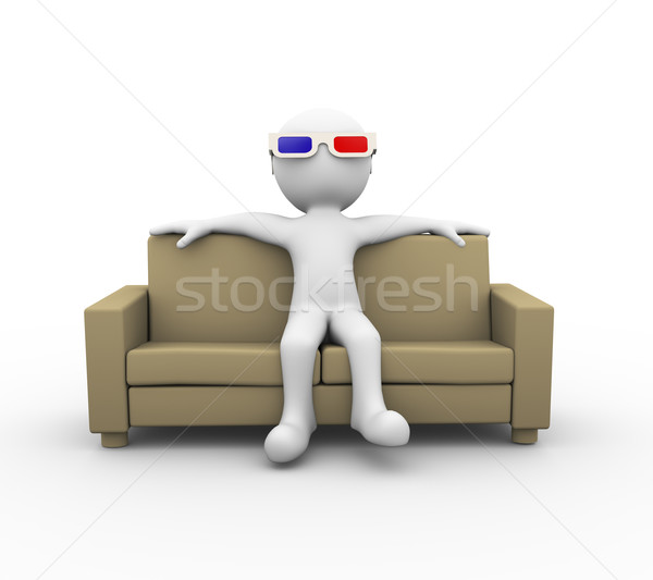 3d man with 3d glasses on sofa Stock photo © nasirkhan