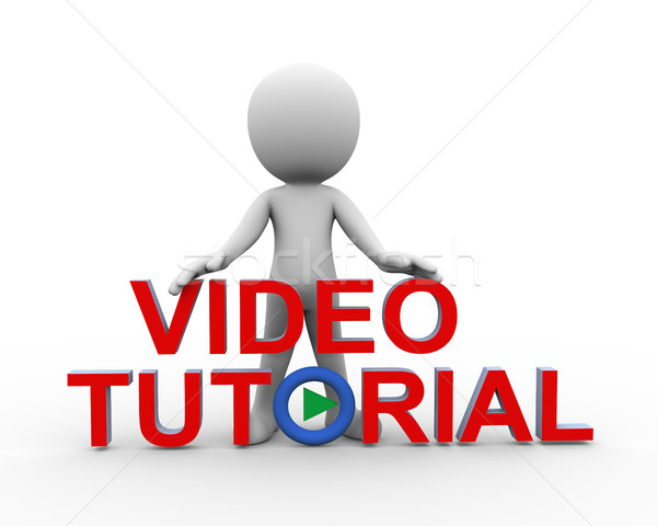 3d man standing with video tutorial Stock photo © nasirkhan