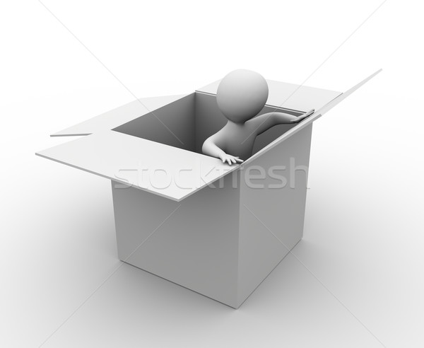 3d man in the box Stock photo © nasirkhan