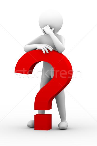 3D mylić osoby znak zapytania ilustracja Zdjęcia stock © nasirkhan
