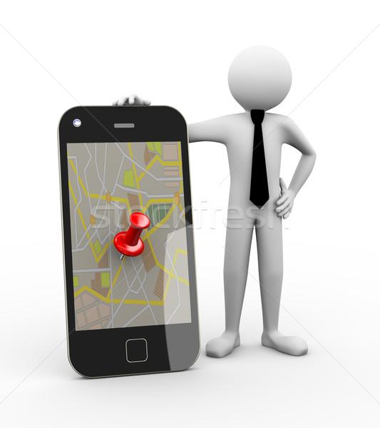 3D üzletember mobil GPS térkép renderelt kép Stock fotó © nasirkhan