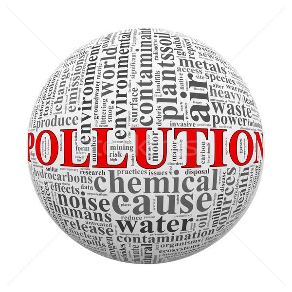 Szófelhő szó címkék labda szennyezés illusztráció Stock fotó © nasirkhan