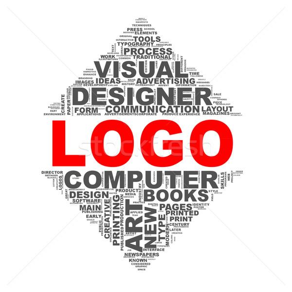Mirror triangle design wordcloud tags logo Stock photo © nasirkhan