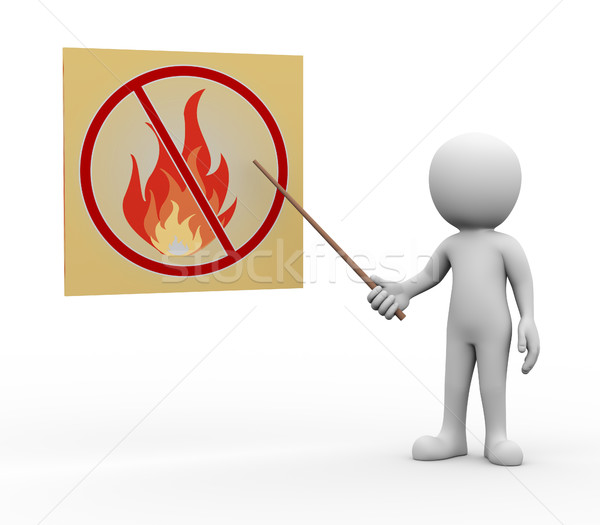 3d man presenting explaining no fire and flame Stock photo © nasirkhan