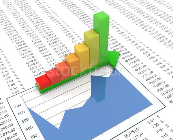 3d progress bar on spreadsheet background Stock photo © nasirkhan