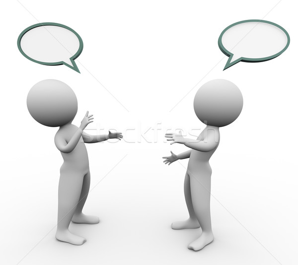Stock photo: 3d men speech bubble