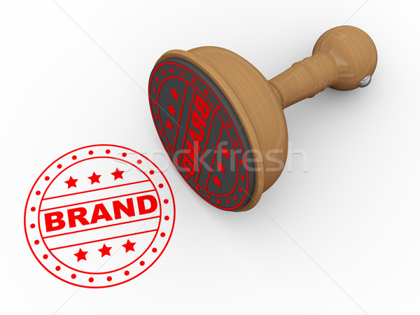 3d wooden rubber stamp - brand Stock photo © nasirkhan