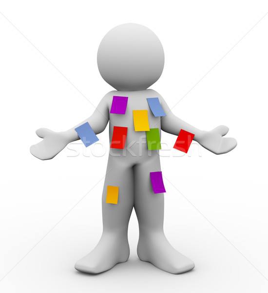 3d man with many sticky empty notes Stock photo © nasirkhan