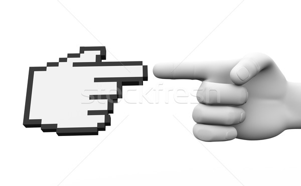 3d human hand and cursor pointer illustration Stock photo © nasirkhan