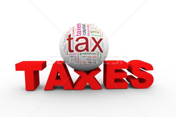 3D adó szófelhő szó 3d illusztráció labda Stock fotó © nasirkhan