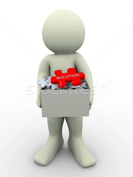 Foto stock: O · homem · 3d · quebra-cabeça · caixa · 3d · render · homem