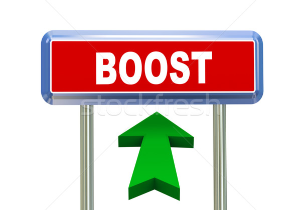 3d arrow road sign - boost Stock photo © nasirkhan