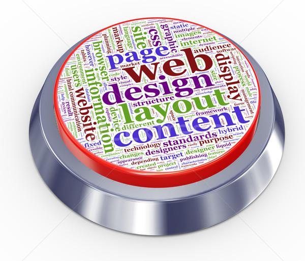 Web design gomb 3d render terv felhő információ Stock fotó © nasirkhan