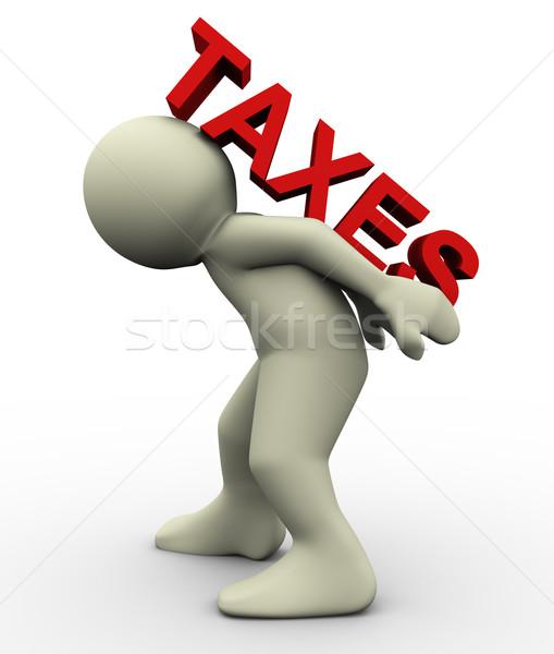 Stock fotó: 3d · ember · hordoz · adózás · 3d · render · férfi · szó