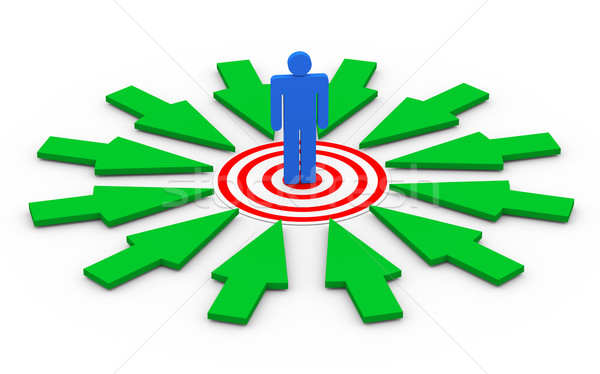 3d man on target surround by arrows Stock photo © nasirkhan