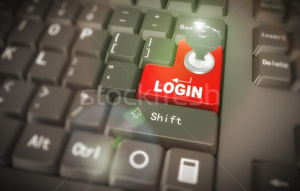 3d keyboard - secured login Stock photo © nasirkhan