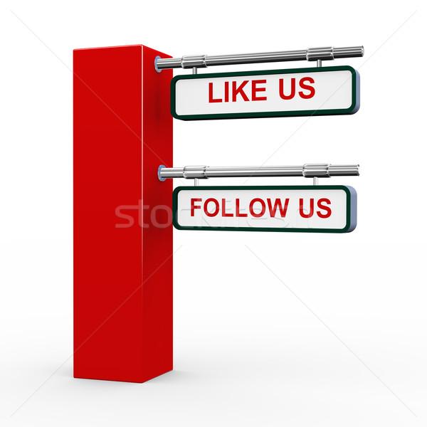 3d modern signpost follow us Stock photo © nasirkhan