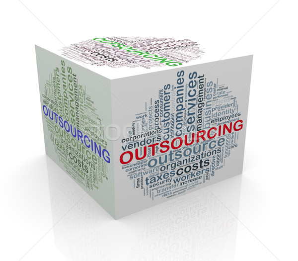 3d cube word tags wordcloud of outsourcing Stock photo © nasirkhan