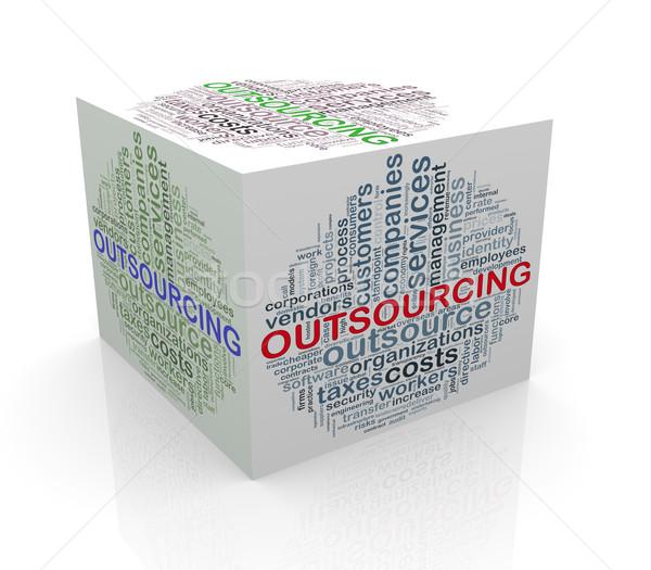 3D kubus woord outsourcing Stockfoto © nasirkhan