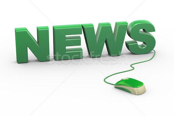 Stock fotó: 3D · egér · csatolva · szó · szöveg · hírek