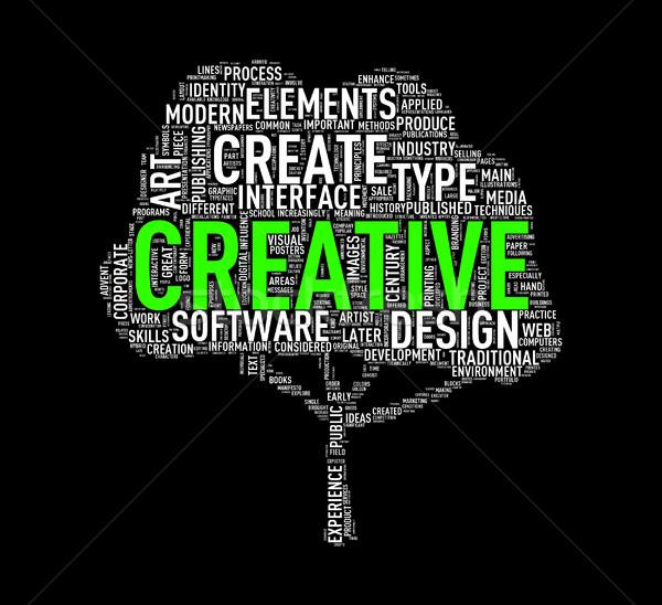 Tree shape wordcloud creative Stock photo © nasirkhan