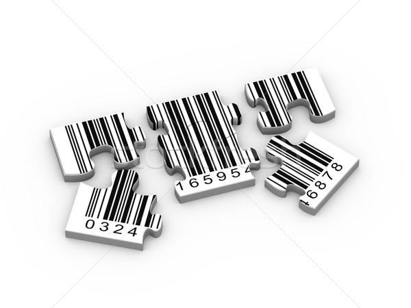 3D vonalkód kirakó darabok renderelt kép vonalkód üzlet Stock fotó © nasirkhan