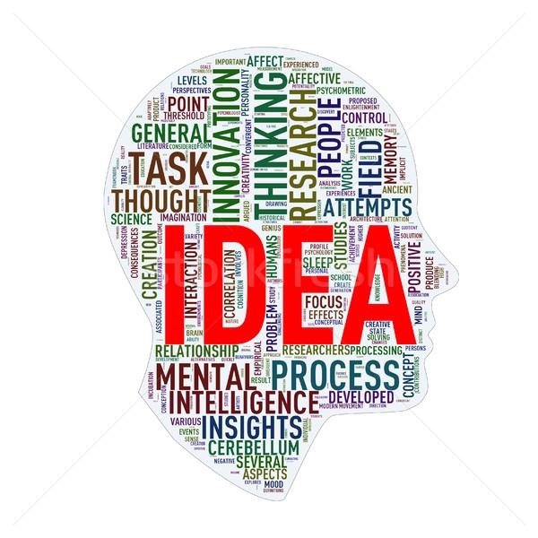 Human head wordcloud tags idea Stock photo © nasirkhan