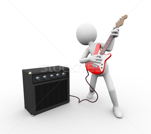 3d electric guitarist with amp and guitar rig Stock photo © nasirkhan