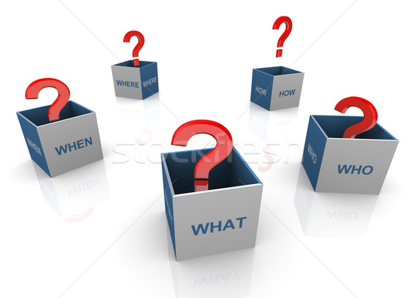 3d questions words boxes Stock photo © nasirkhan